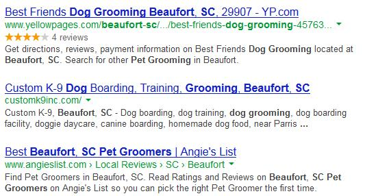 Example of Google Search Listings - Search Engine Optimization and Marketing Specialists